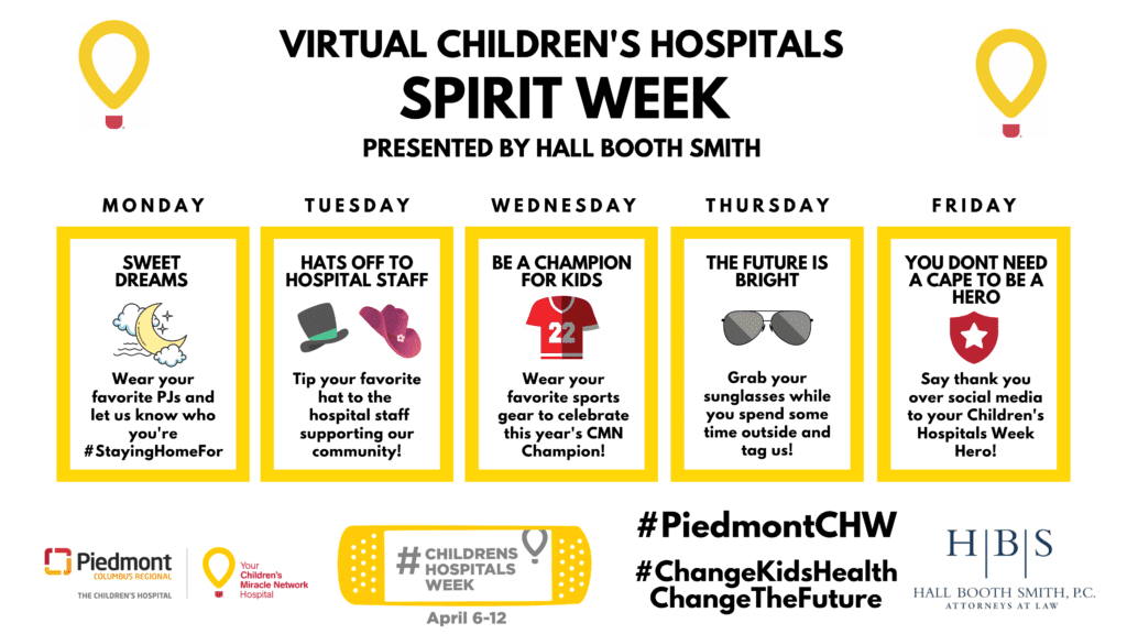 Virtual Children's Hospitals Spirit Week Calendar